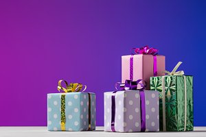 Gift boxes on bright background.