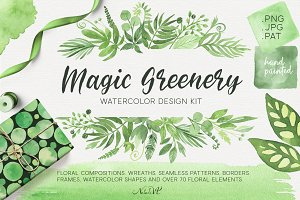 Magic Greenery.Design kit watercolor