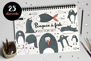 Penguin and Fish VECTOR set