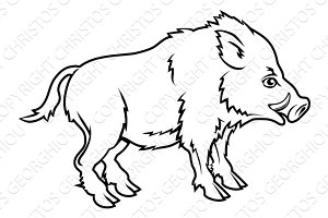 Stylised boar illustration