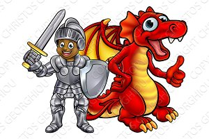 Cartoon Knight and Dragon