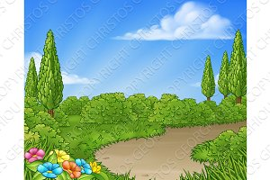 Cartoon Country Lane Park or Garden Background