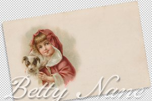 vintage greeting, girl with dog
