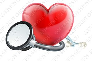 Heart Icon and Stethoscope