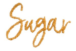 word sugar from brown sugar isolated