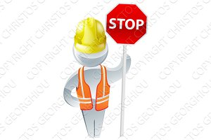 Stop sign workman