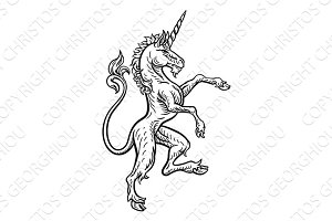 Unicorn Rampant Heraldic Crest Coat of Arms