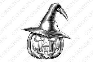 Vintage halloween witch pumpkin