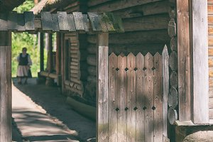 Vintage rural wooden house