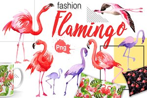 Flamingo fashion watercolor PNG set