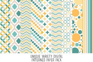 Lemon & Teal Pattern Paper Pack