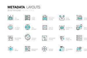 Metadata trendy line icons