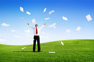 Business Man Throwing Paperworks