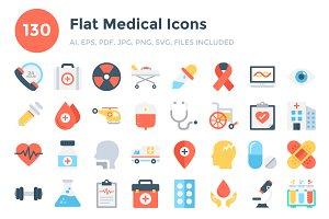 130 Flat Medical Icons