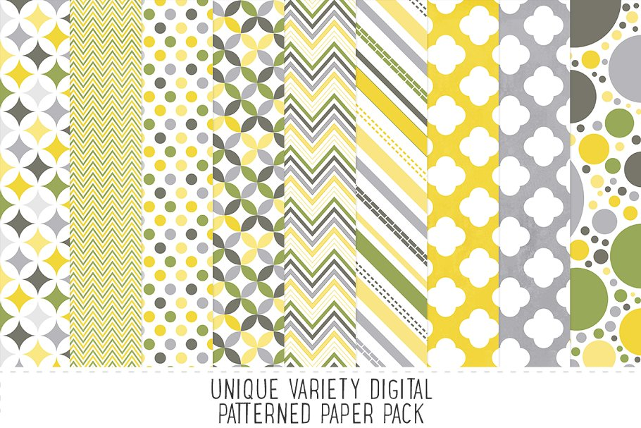 Yellow & Grey Pattern Paper Pack