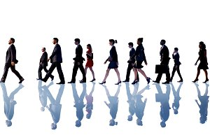 Business workers walking