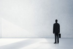 Businessman standing alone