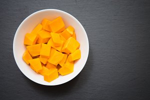 raw pumpkin in a plate