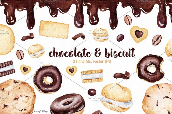 Chocolate & Biscuits clipart in Illustrations