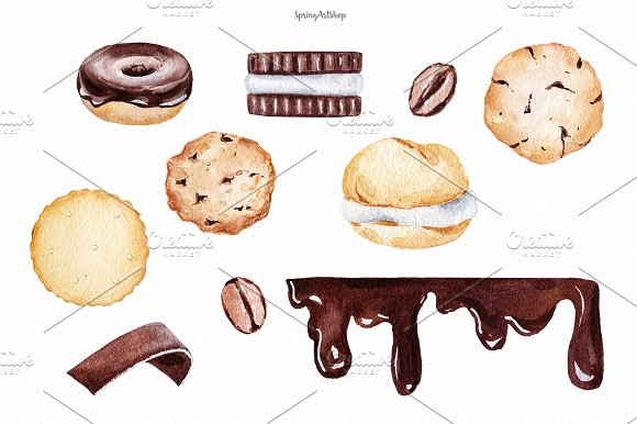 Chocolate & Biscuits clipart in Illustrations - product preview 1