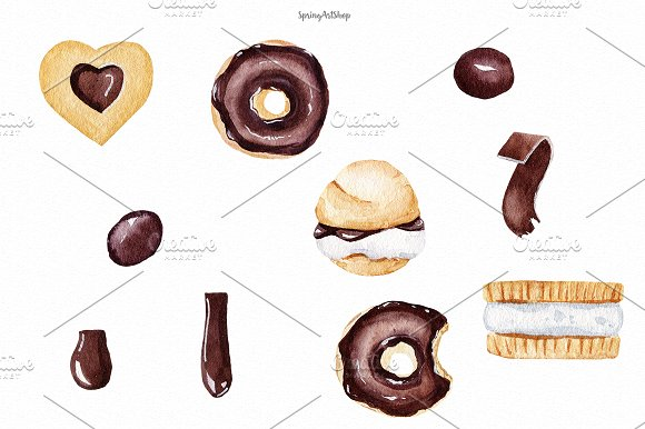 Chocolate & Biscuits clipart in Illustrations - product preview 2