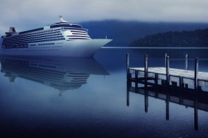 Cruise ship by a jetty