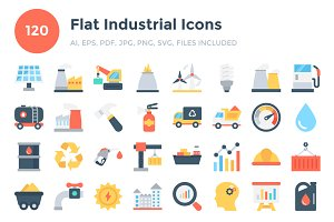 120 Flat Industrial Icons