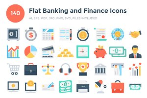 140 Flat Banking and Finance Icons