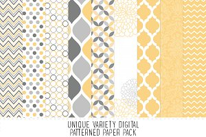Pale Yellow & Grey Pattern Paper