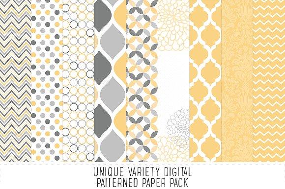 Pale Yellow & Grey Pattern Paper