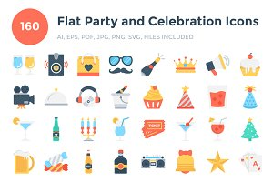 160 Flat Party and Celebration Icons