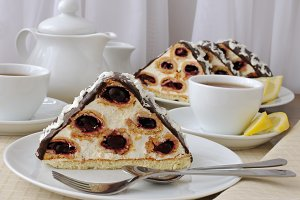 Cake with cherry chocolate