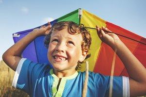 Children Boy Playing Kite Enjoyment