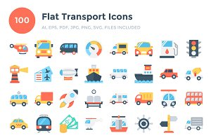 100 Flat Transport Icons