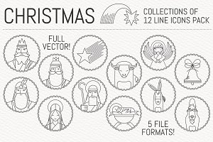 Christmas Nativity Icon set