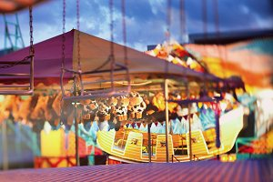 Multi-colored fair in the evening