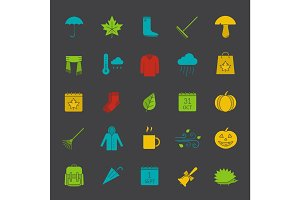 Autumn glyph color icon set