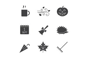Autumn season glyph icons set