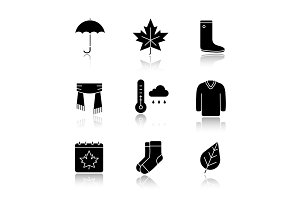 Autumn drop shadow black glyph icons set