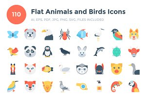 110 Flat Animals and Birds Icons