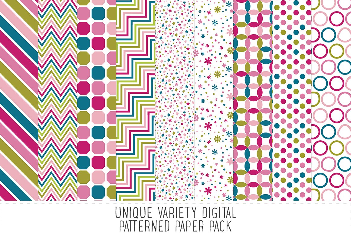 Fuchsia Pattern Paper Pack Custom Designed Graphic Patterns Creative Market