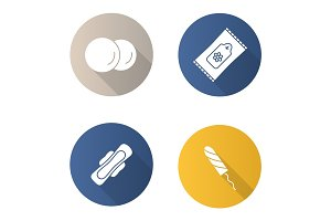 Toiletries flat design long shadow glyph icons set