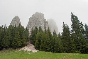 Misty, foggy mountains