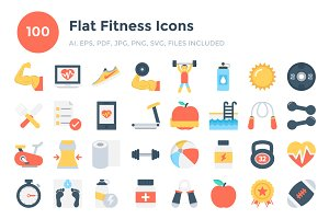 100 Flat Fitness Icons