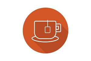 Teacup flat linear long shadow icon