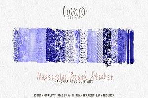 New: Purple Watercolor brush strokes