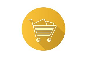 Shopping cart with boxes. Flat linear long shadow icon