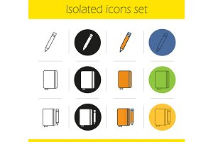 Diary notebooks with pencils icons set