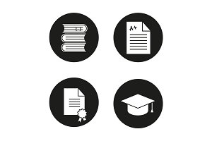 High education glyph icons set