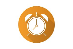 Alarm clock flat design long shadow glyph icon